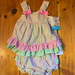 Preppy gingham ruffle outfit